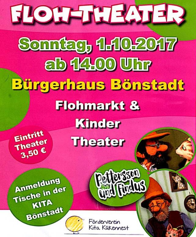 Plakat für Flohmarkt und Kindertheater in Bönstadt 2017-10-01 14:00